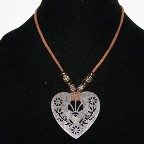 Beautiful brown leather and wooden heart necklace